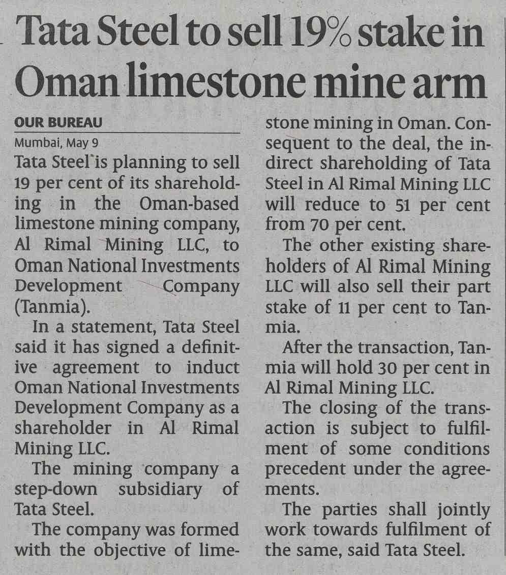 Tata Steel to sell 19% stake in Oman limestone mine arm